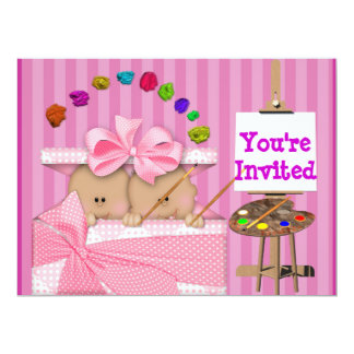 AFRICAN AMERICAN TWIN BABY GIRL SHOWER  INVITATION
