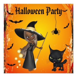 African American Witch & Cat Halloween Party 13 Cm X 13 Cm Square Invitation Card