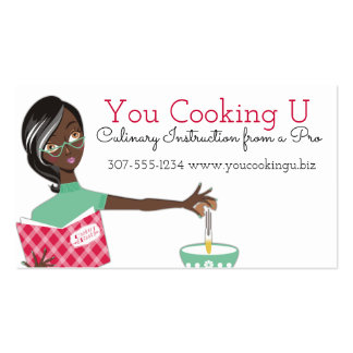 African American woman cooking baking cracking egg Pack Of Standard Business Cards