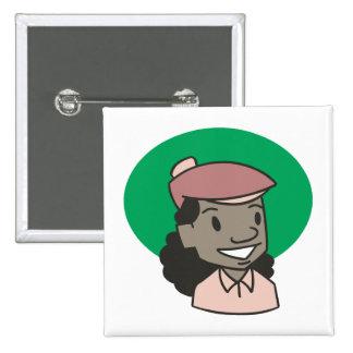 African American Woman Golfer Pinback Button