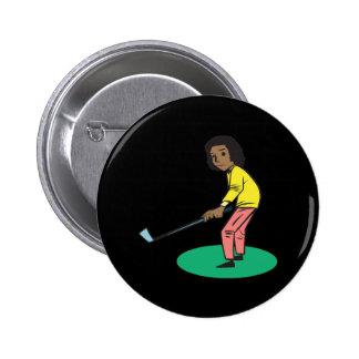 African American Woman Golfer Buttons