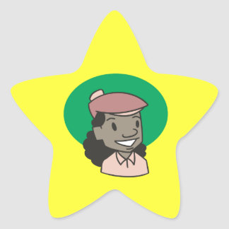 African American Woman Golfer Star Stickers