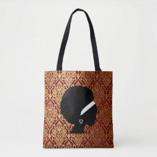 African American Woman on Red and Gold Damask Tote Bag
