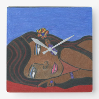 African American Woman Square Wall Clock