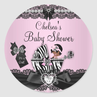 African American Zebra & Lace Baby Shower Sticker