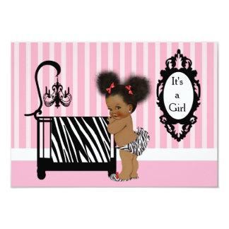 African American Zebra Print Baby Shower 9 Cm X 13 Cm Invitation Card