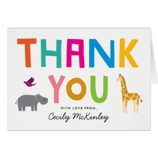 African Animals Baby Shower Thank You Note Card