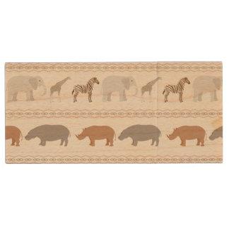 African animals pattern 1 wood USB 2.0 flash drive