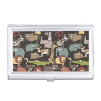 African Animals Pattern Business Card Cases