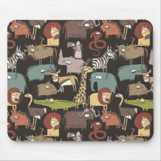 African Animals Pattern Mouse Pad