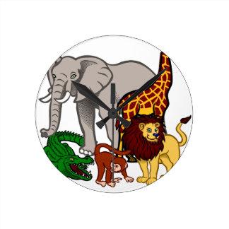 African Animals Round Clock