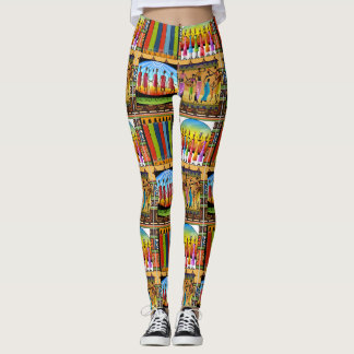 African Art Bright Color Patterns Leggings