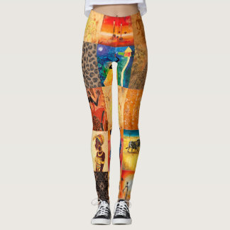 African Art Bright Color Patterns orange green Leggings