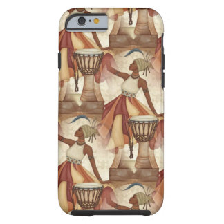 African Art earth tones neutral women drums Tough iPhone 6 Case