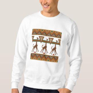 African Art Giraffes Embroidered Sweatshirt
