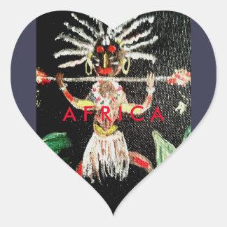 African Art Heart Sticker