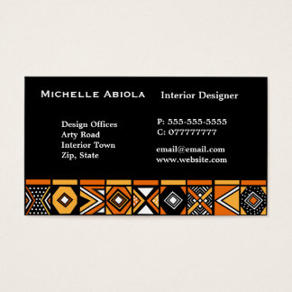 African art pattern business card