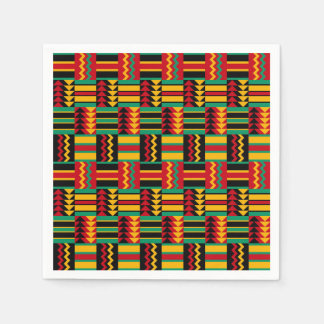 African Basket Weave Pride Red Yellow Green Black Disposable Serviette