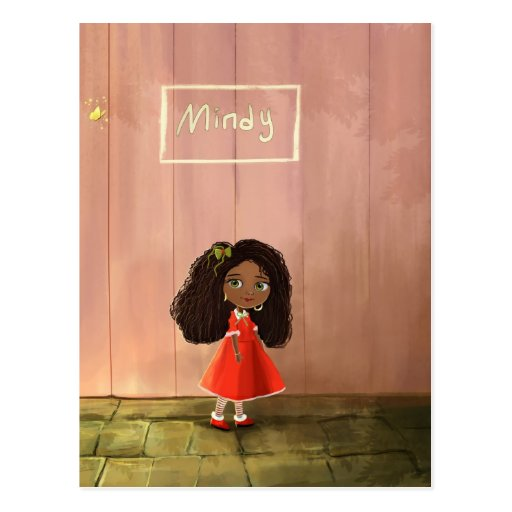 African black girl with the curly hair postcard