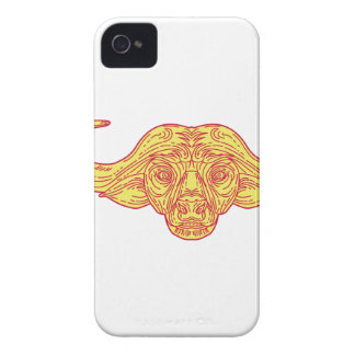 African Buffalo Head Mono Line iPhone 4 Cover