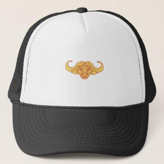 African Buffalo Head Mono Line Trucker Hat