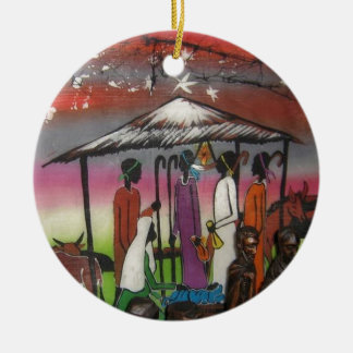African Christmas Nativity Scene Ceramic Ornament