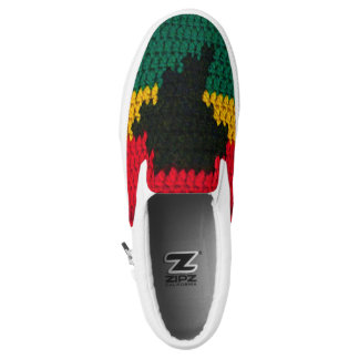 African Colors Red Black Gold Green Crochet Slip-On Shoes