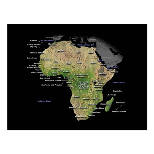 African Continent map Postcard