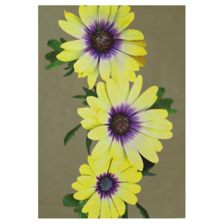 African Daisies Lemon Symphony Wood Poster
