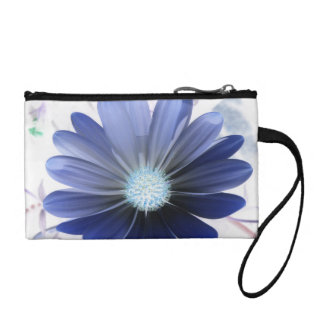 African Daisy Glowing Blue Bagettes Bag Coin Wallets