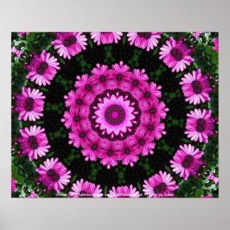 African Daisy Kaleidoscope Flower Poster Print