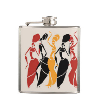 African Dancing Ladies Hip Flask