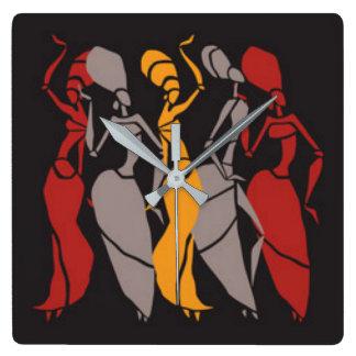 African Dancing Ladies Square Wall Clock