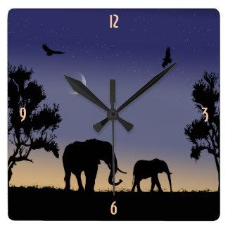 African dawn - elephants square wall clock