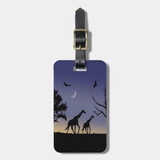 African dawn - giraffes luggage tag