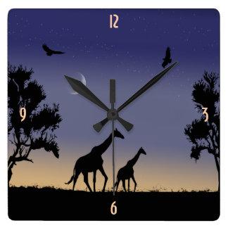 African dawn - giraffes square wall clock