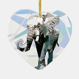 African elephant ceramic heart decoration