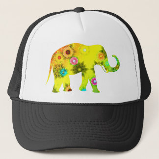African Elephant Floral Trucker Hat