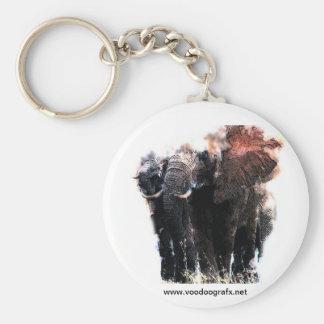 African Elephant Basic Round Button Key Ring