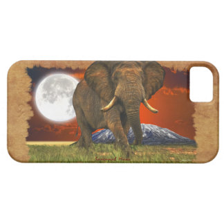African Elephant & Moon II Cell Phone Case