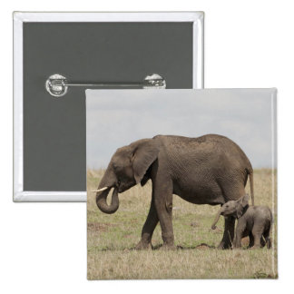 African Elephant mother with baby walking 15 Cm Square Badge