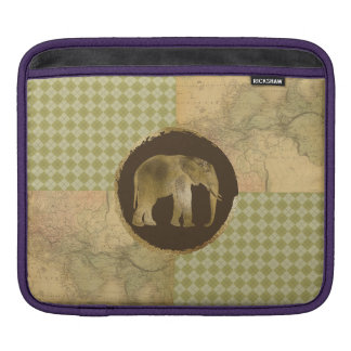African Elephant on Map and Argyle iPad Sleeve