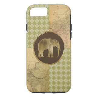 African Elephant on Map and Argyle iPhone 8/7 Case