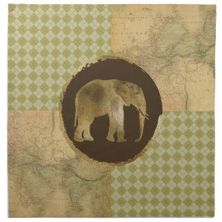 African Elephant on Map and Argyle Napkin