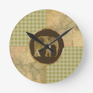 African Elephant on Map and Argyle Round Clock