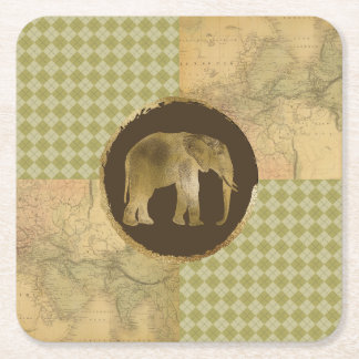 African Elephant on Map and Argyle Square Paper Coaster