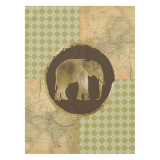 African Elephant on Map and Argyle Tablecloth