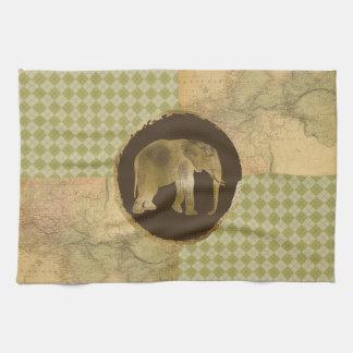 African Elephant on Map and Argyle Tea Towel