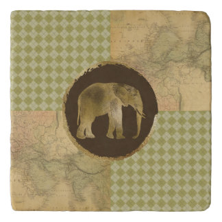 African Elephant on Map and Argyle Trivet