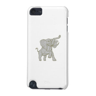 African Elephant Prancing Mono Line iPod Touch 5G Cases